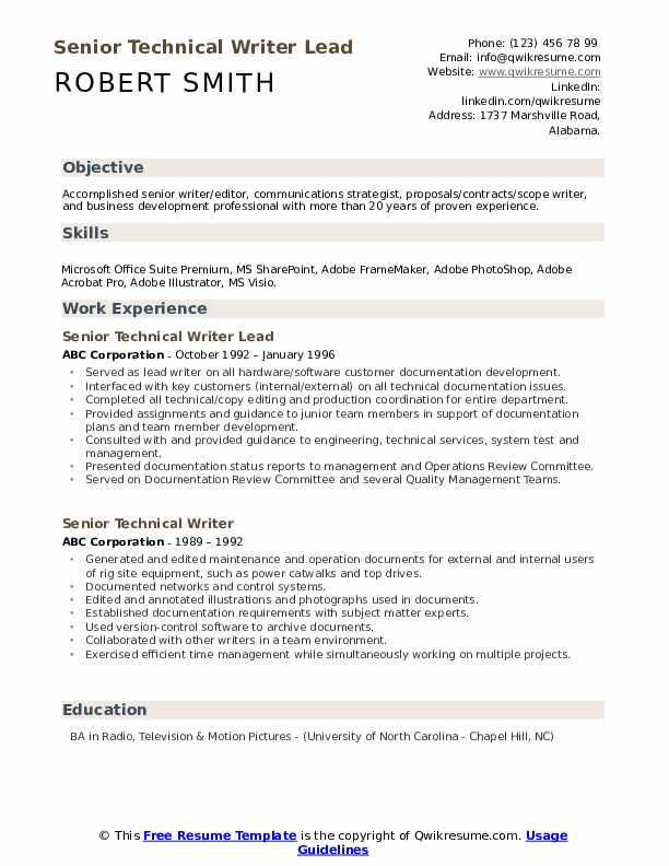Senior Technical Writer Lead Resume Sample