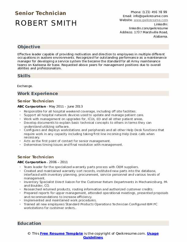 Senior Technician Resume Sample