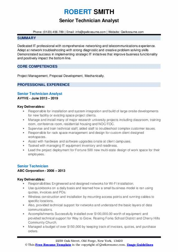 Senior Technician Analyst Resume Example