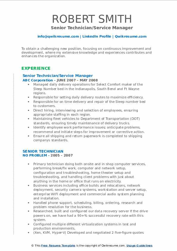 Senior Technician/Service Manager Resume Model