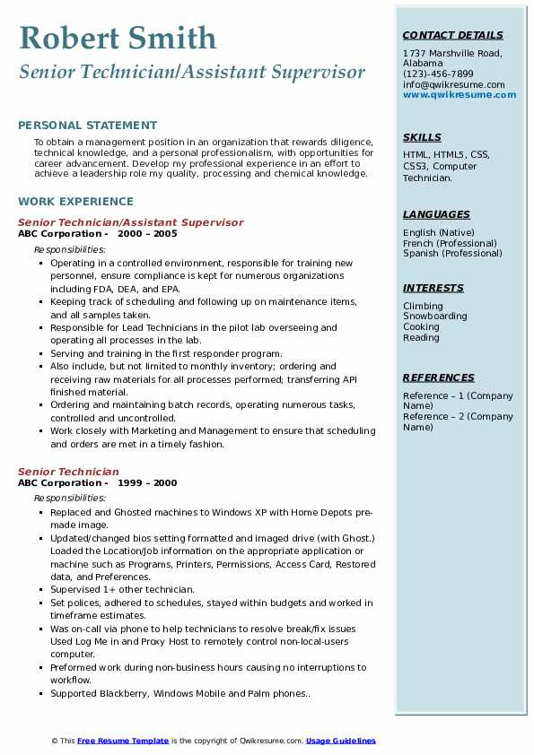 Senior Technician/Assistant Supervisor Resume Example