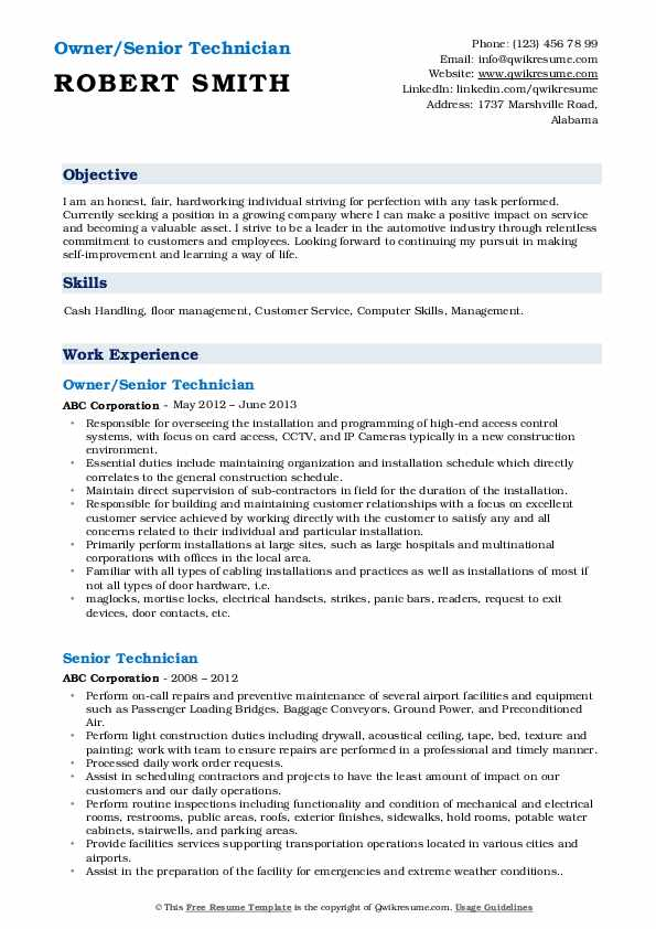 Owner/Senior Technician Resume Template