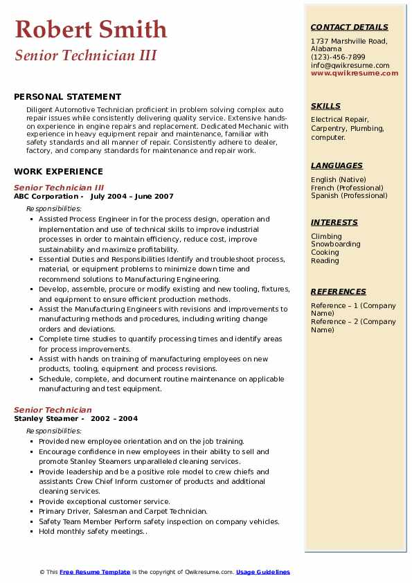 Senior Technician III Resume Format