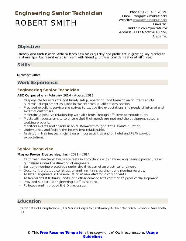 Engineering Senior Technician Resume Sample