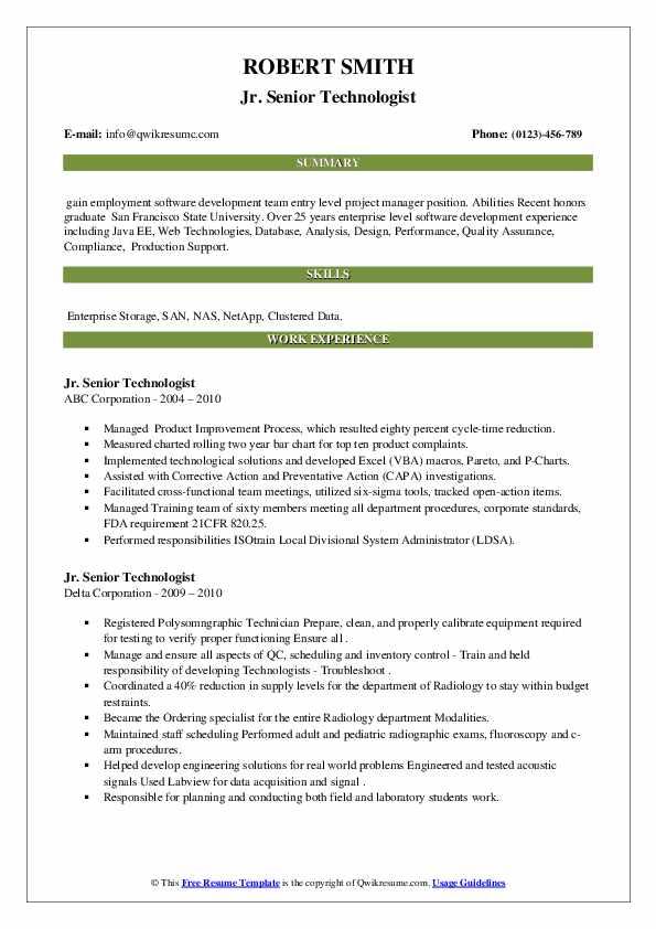 senior technologist resume samples  qwikresume