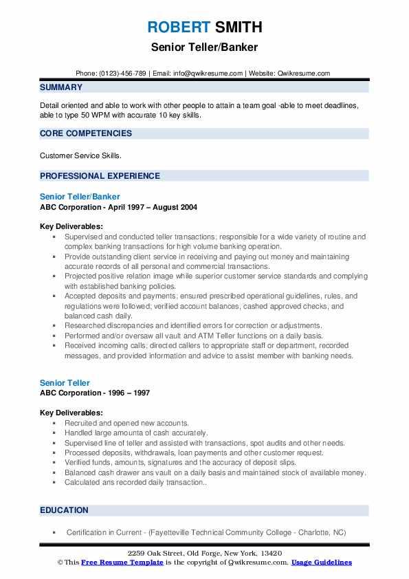 Senior Teller/Banker Resume Model
