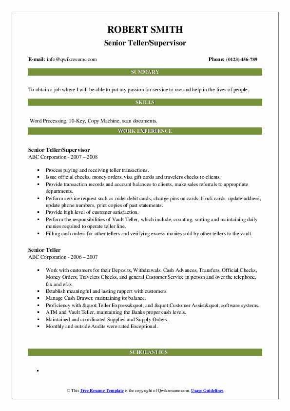 senior teller resume samples