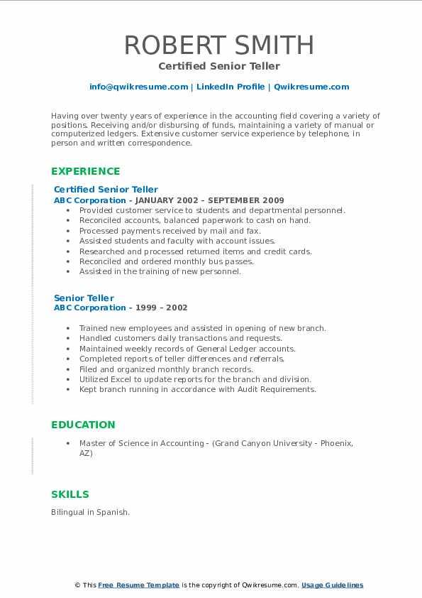 Certified Senior Teller Resume Sample