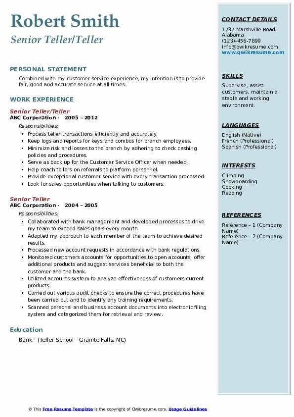 Senior Teller/Teller Resume Sample