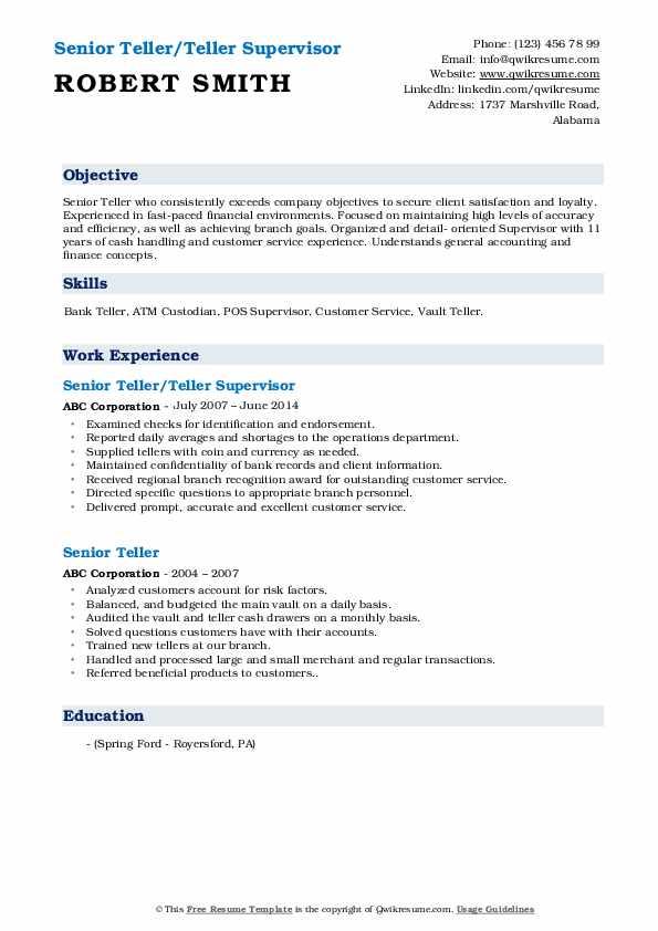 Senior Teller/Teller Supervisor Resume Sample
