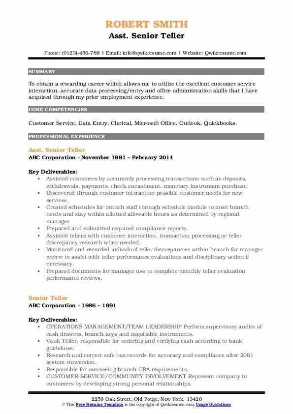 Asst. Senior Teller Resume Sample