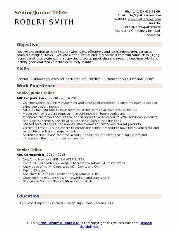 Senior/Junior Teller Resume Sample