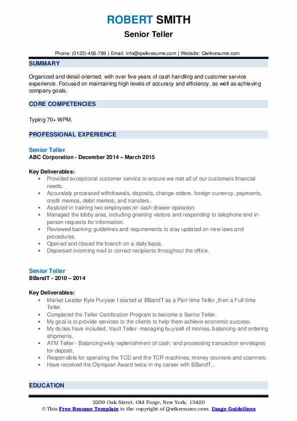 Senior Teller Resume example