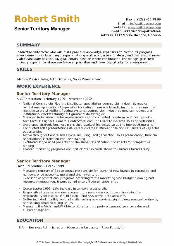 Senior Territory Manager Resume example