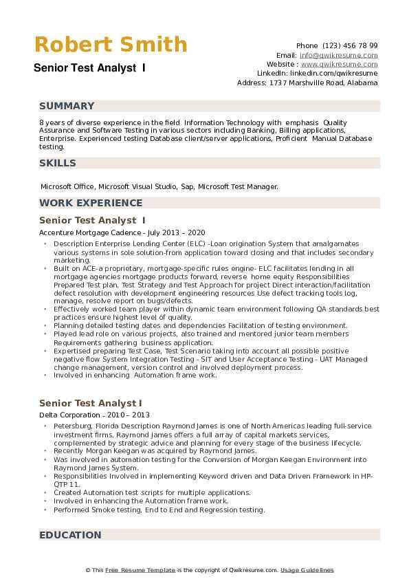 Senior Test Analyst Resume example
