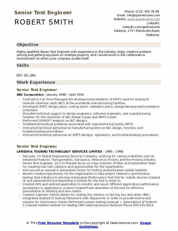 Senior Test Engineer Resume Example