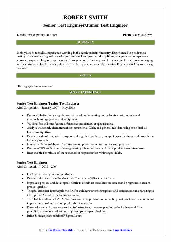 Senior Test Engineer/Junior Test Engineer Resume Format