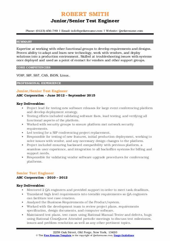 Junior/Senior Test Engineer Resume Format