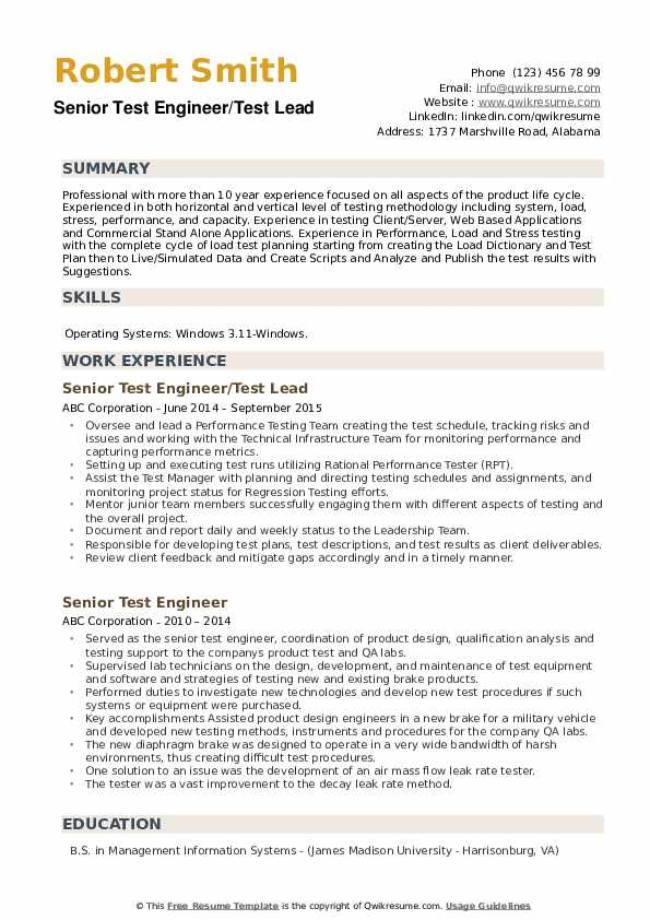 Senior Test Engineer/Test Lead Resume Format