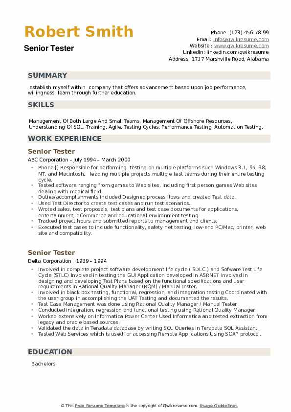 Senior Tester Resume example
