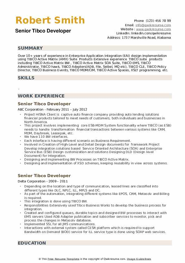 Senior Tibco Developer Resume example