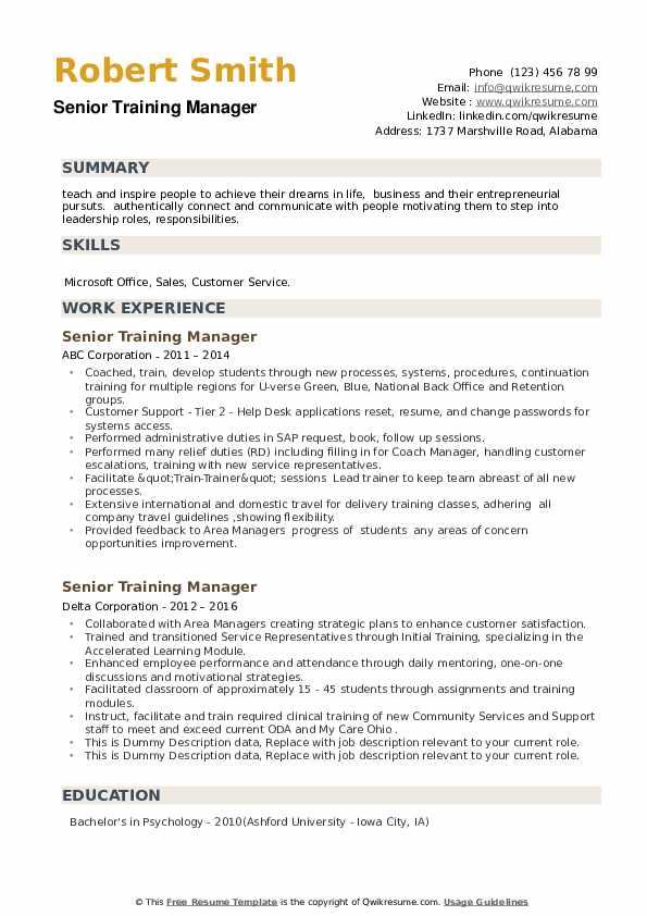 Senior Training Manager Resume example