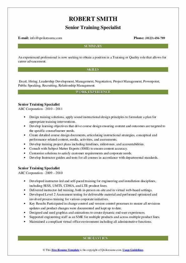 Senior Training Specialist Resume example