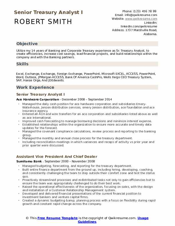 Senior Treasury Analyst I Resume Model