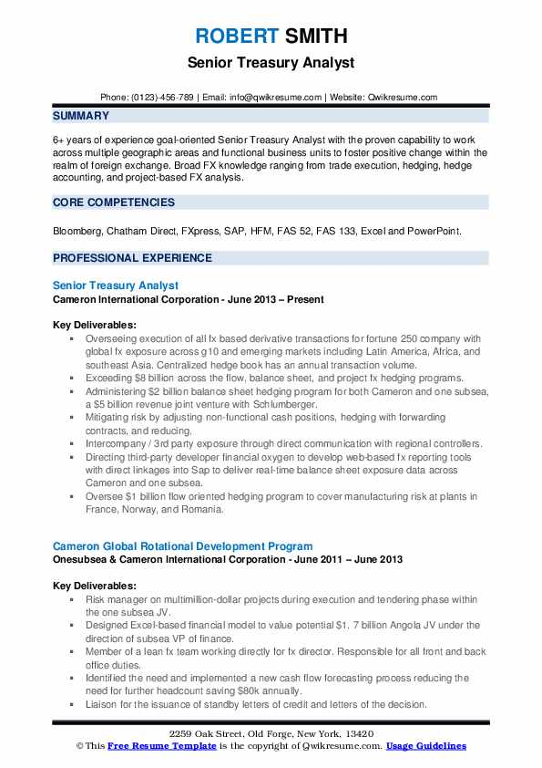 senior treasury analyst resume samples