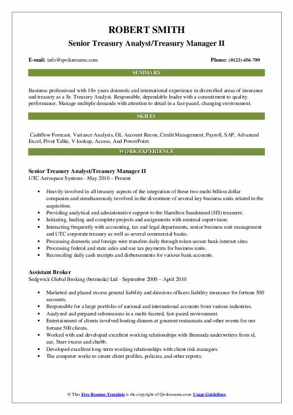 Senior Treasury Analyst/Treasury Manager II Resume Example