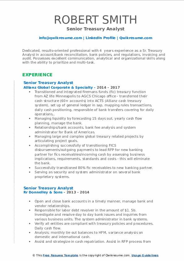 Senior Treasury Analyst Resume Format