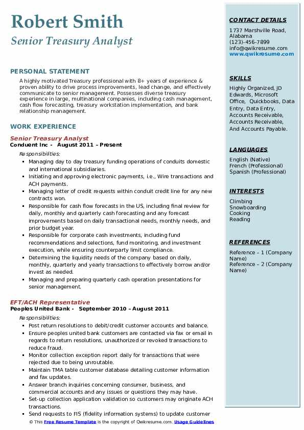 Senior Treasury Analyst Resume Sample