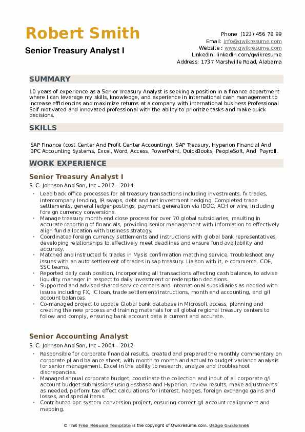Senior Treasury Analyst Resume example