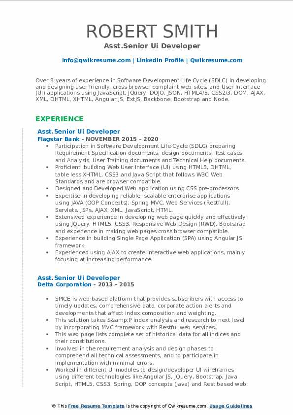 senior ui developer resume samples  qwikresume