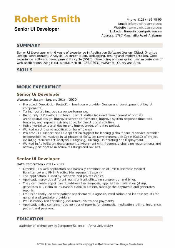 Senior UI Developer Resume example