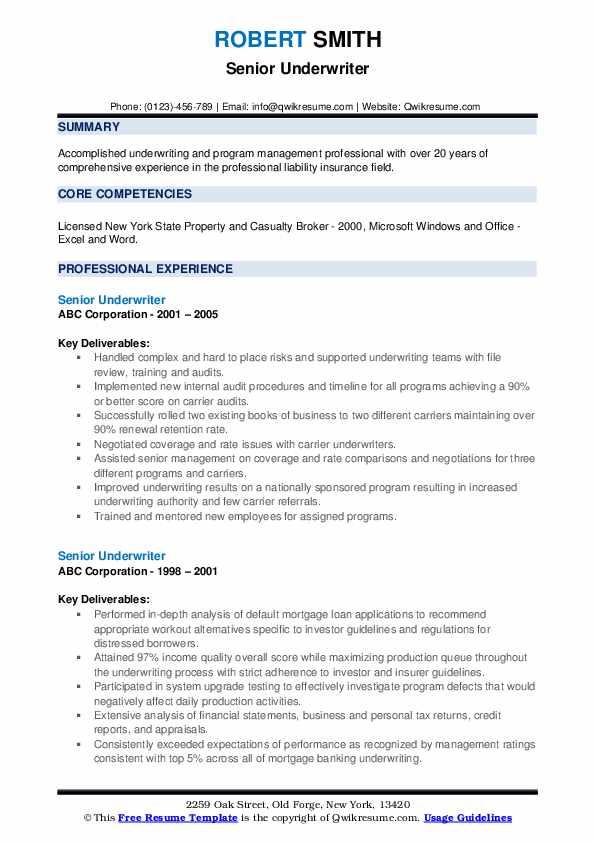 senior underwriter resume samples