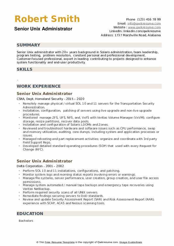 Senior Unix Administrator Resume example