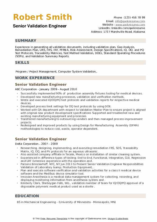Senior Validation Engineer Resume example
