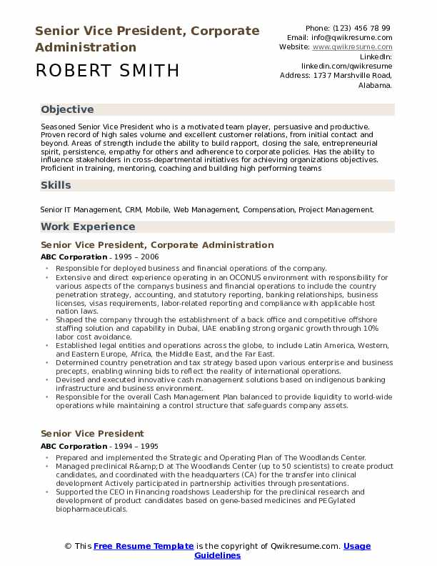 Senior Vice President, Corporate Administration Resume Model