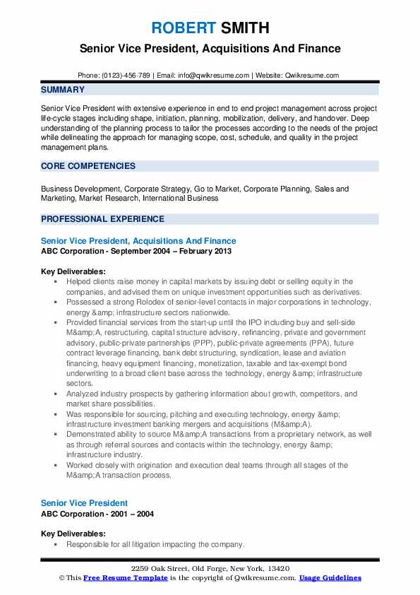 Senior Vice President, Acquisitions And Finance Resume Sample