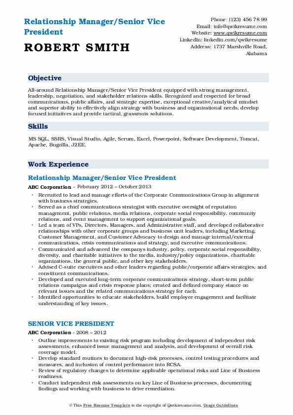 Relationship Manager/Senior Vice President Resume Template