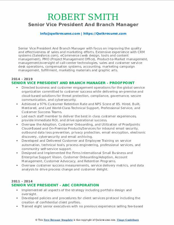 Senior Vice President And Branch Manager Resume Sample