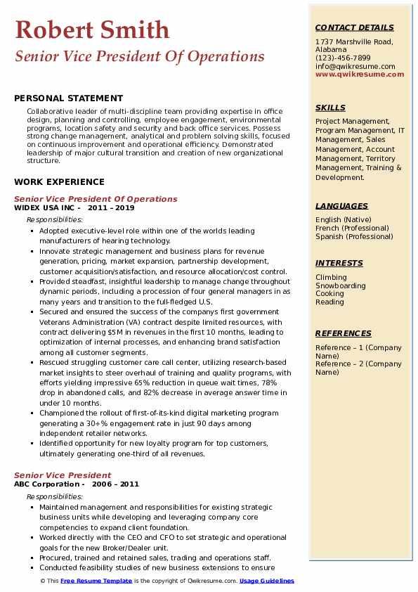 Senior Vice President Of Operations Resume Model