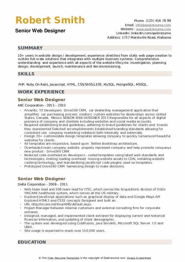 Senior Web Designer Resume example