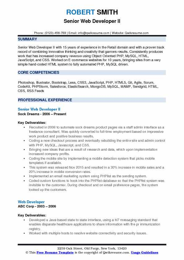 Senior Web Developer II Resume Example