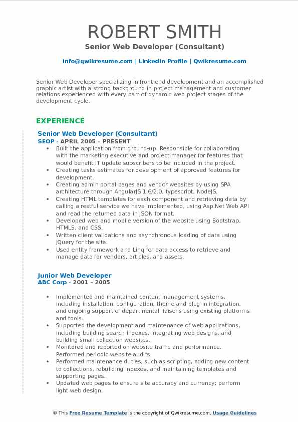 Senior Web Developer (Consultant) Resume Format
