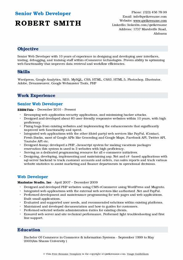 Senior Web Developer Resume Format