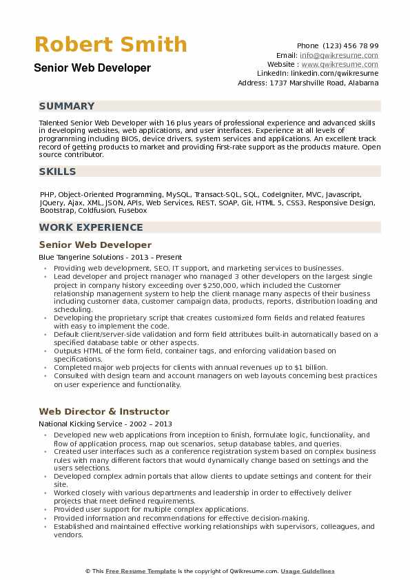 Senior Web Developer Resume example
