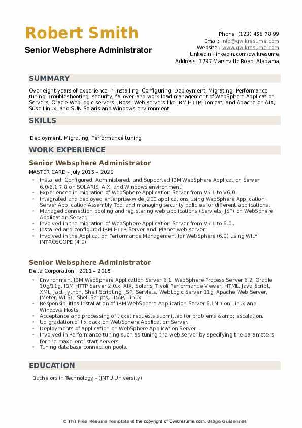 Senior Websphere Administrator Resume example