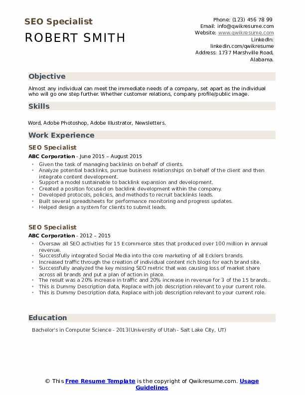 SEO Specialist Resume example